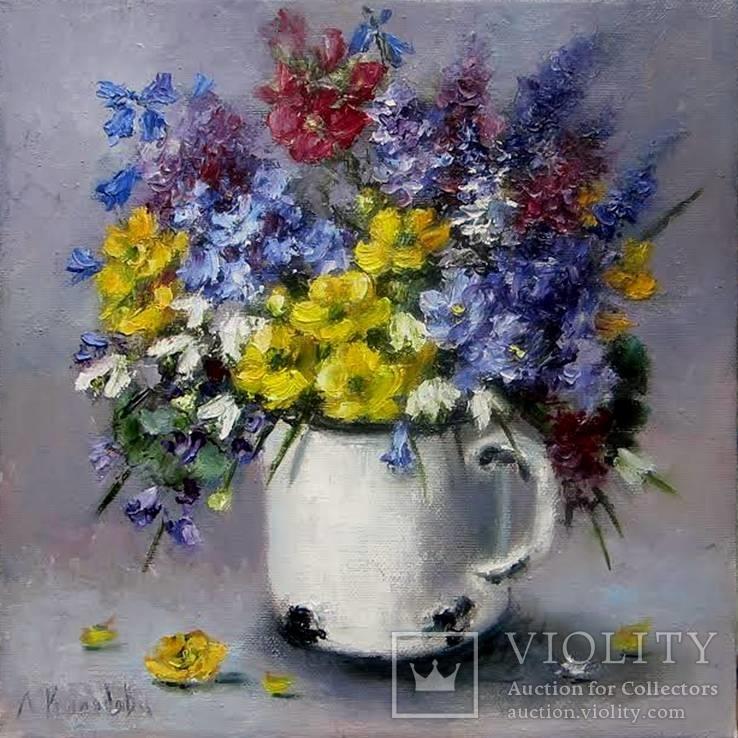 Первоцветы 25х25 см. Л. Колядова масло холст на подрамнике
