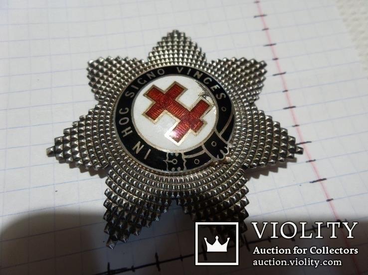 Масонская медаль тамплиеров серебро звезда масон 488