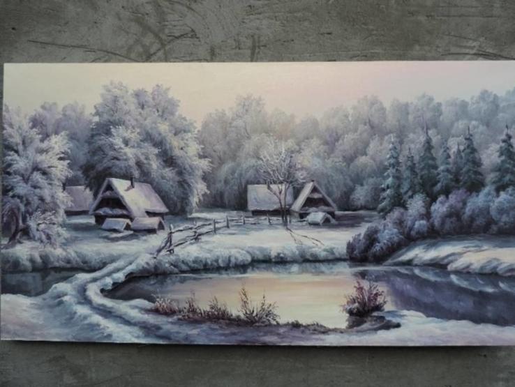 Зима масло холст