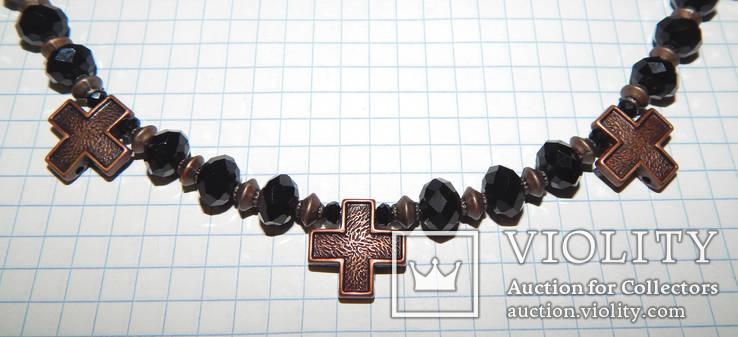 Бусы черные с крестиками, фото №4