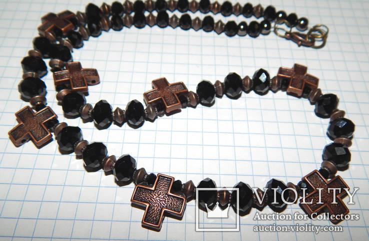 Бусы черные с крестиками, фото №6