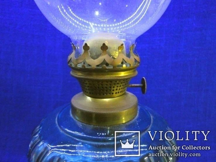 Старинная керосиновая лампа из синего толстого стекла . Франция., фото №4