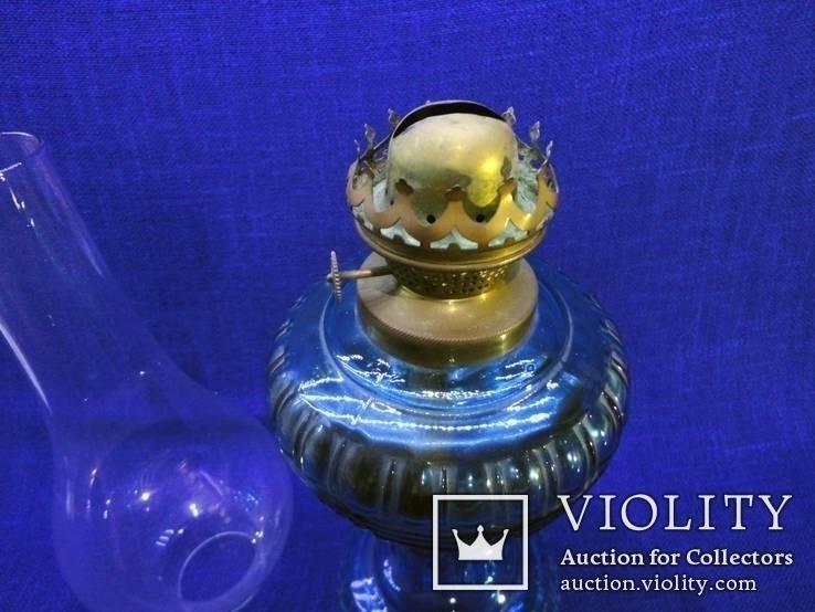 Старинная керосиновая лампа из синего толстого стекла . Франция., фото №9