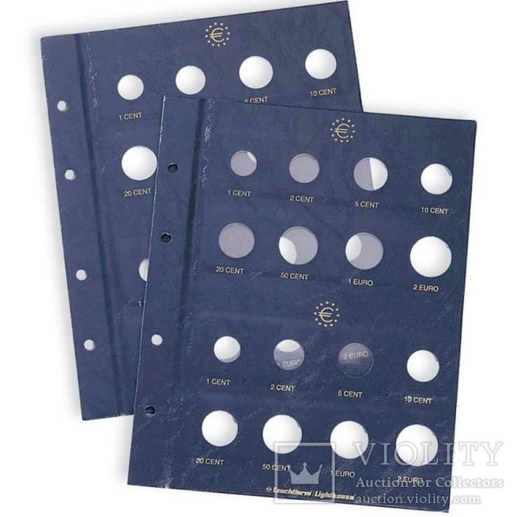 Лист в альбом VISTA для 2-х наборов евромонет