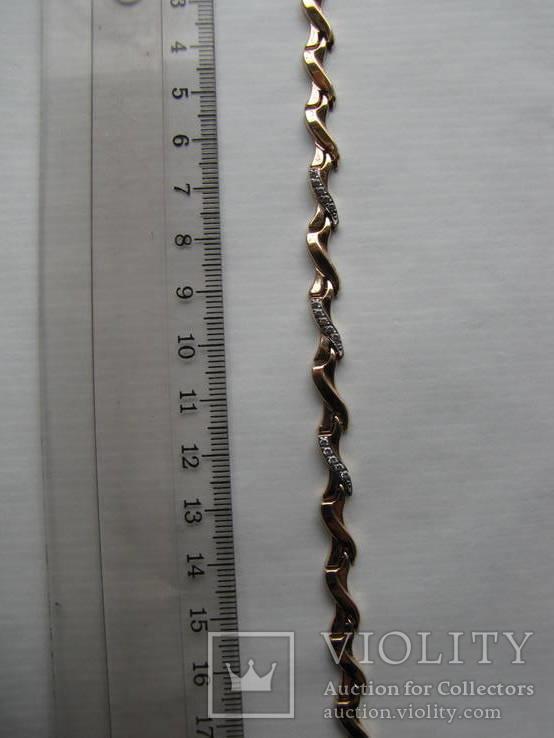 Браслет золото 585` 7,19гр фианиты, фото №2