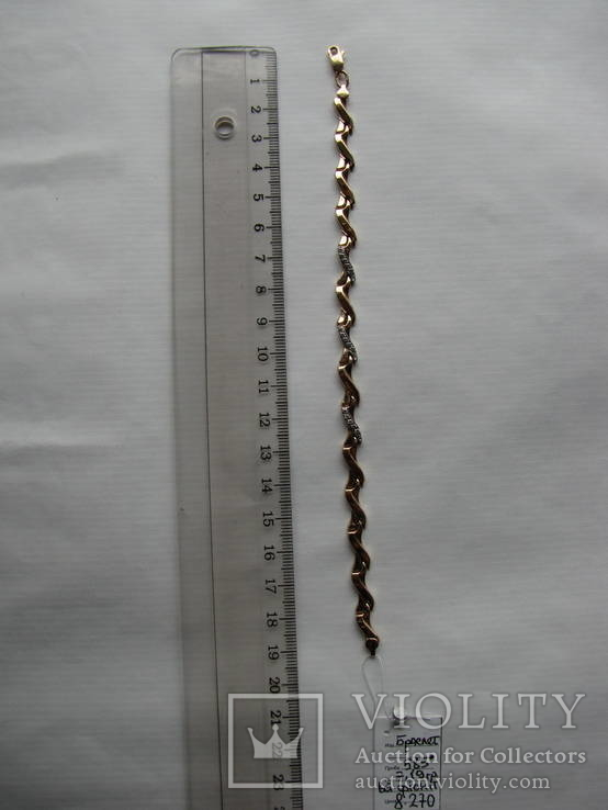 Браслет золото 585` 7,19гр фианиты, фото №3