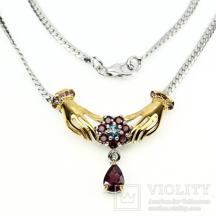Ожерелье с камбоджийским цирконом и гранатами родолитами, фото №4