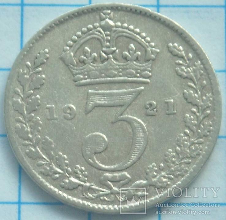 3 пенса, Великобритания, 1921г.