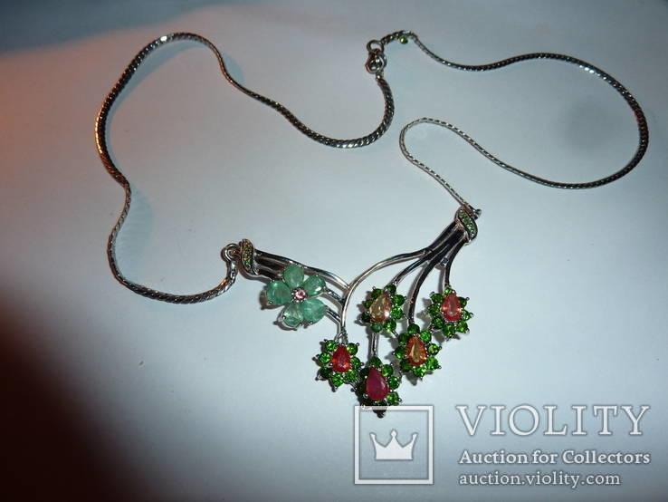 Ожерелье с натуральными хромдиопсидами,изумрудами и цветными сапфирами, фото №2