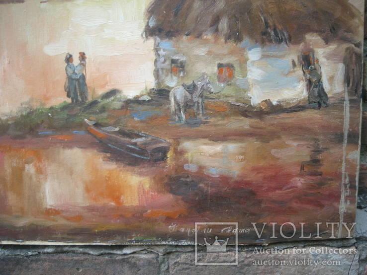 Старая картина Напоили отца, фото №5
