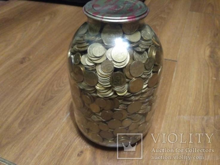 Банка денег, мелочи, гривен, монет., фото №5