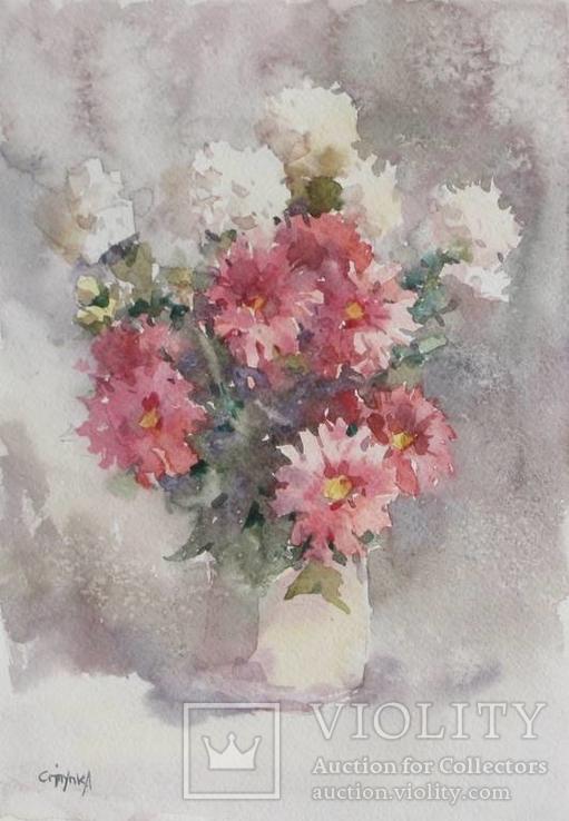 """Квіти""папір.акварель.29.7-21см. Ступка.С"