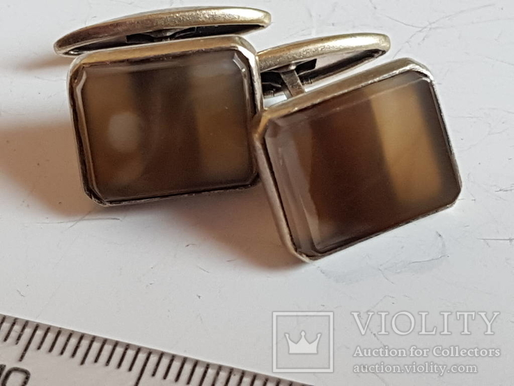 Запонки Советские Серебро 875 проба. Камень., фото №6