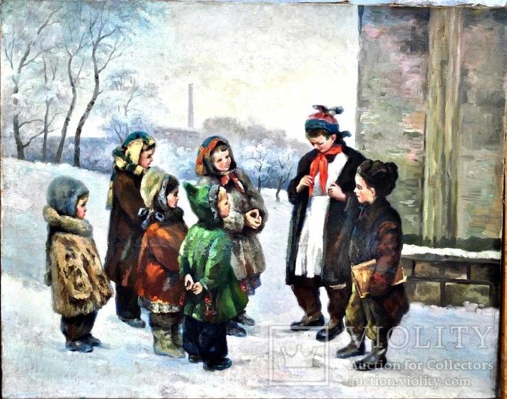 """Картина жанровая """" Дети зимой """" , размер 80 - -100 см"""