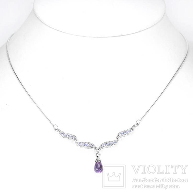 Ожерелье с танзанитами и аметистом
