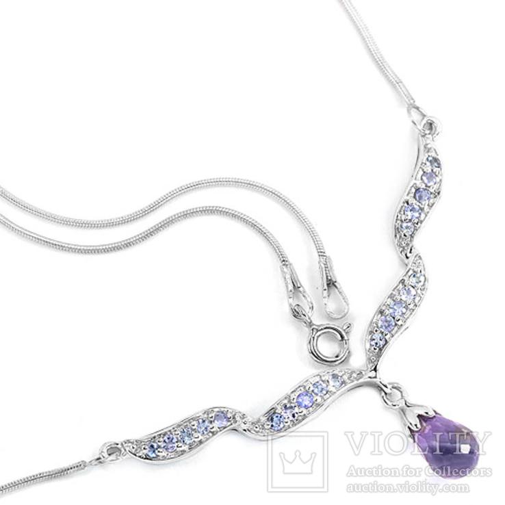 Ожерелье с танзанитами и аметистом, фото №4