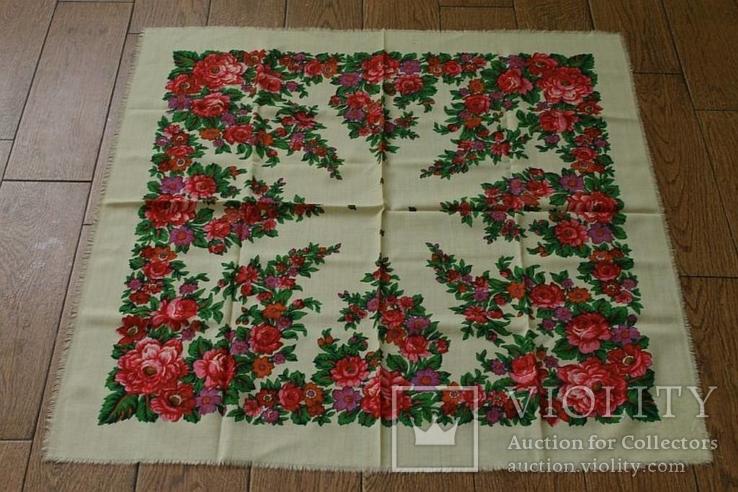 Шерстяной старинный платок №139, фото №2