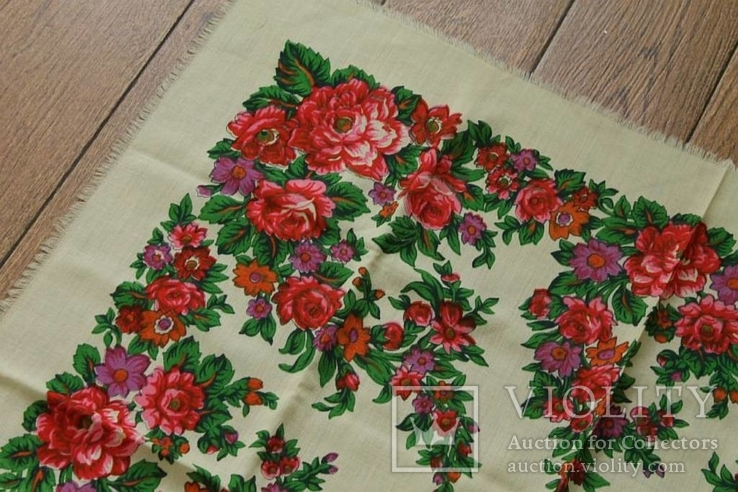 Шерстяной старинный платок №139, фото №3