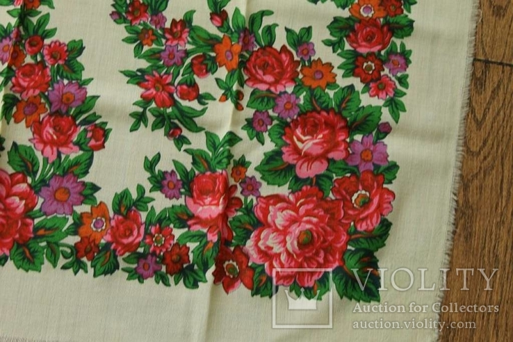 Шерстяной старинный платок №139, фото №6