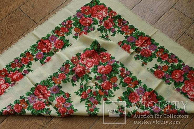 Шерстяной старинный платок №139, фото №8