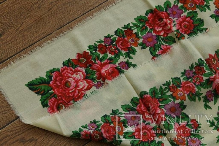 Шерстяной старинный платок №139, фото №9