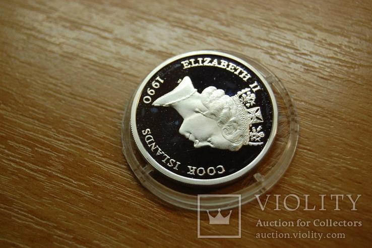 1992 Острова Кука Cook Island. 500 лет открытия Америки. Корабль Флот. серебро 10,28гр, фото №11