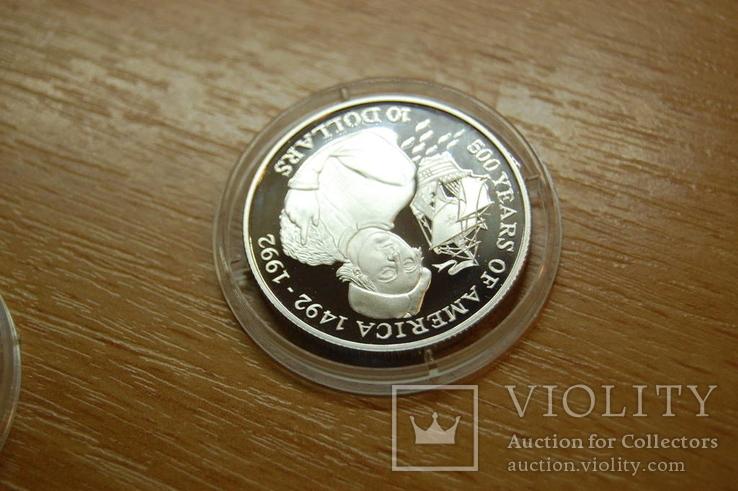 1992 Острова Кука Cook Island. 500 лет открытия Америки. Корабль Флот. серебро 10,10гр, фото №5