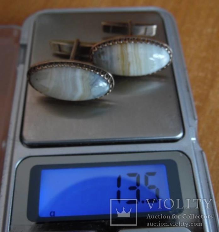 Запонки серебро 875пр, натуральный камень., фото №8