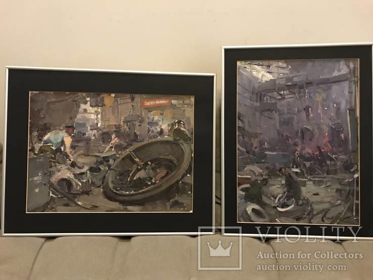 2 картины художника Шевченко Н.К. из цикла в цеху 1950-е годы.