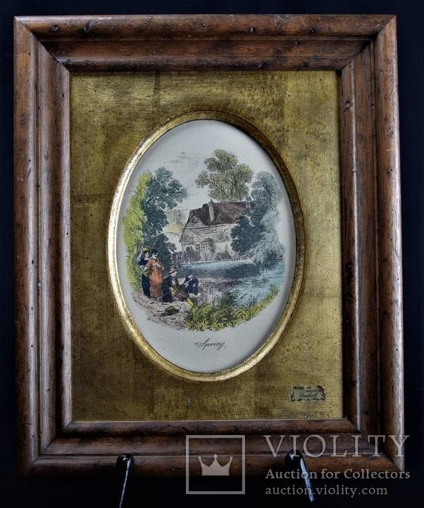 Старая цветная гравюра подпись автора B.Foster Англия
