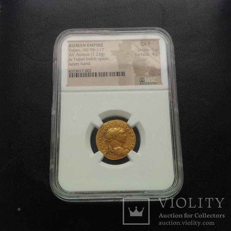 Ауреус Траяна 98-117 гг 7,23 грамма золота в слабе NGC