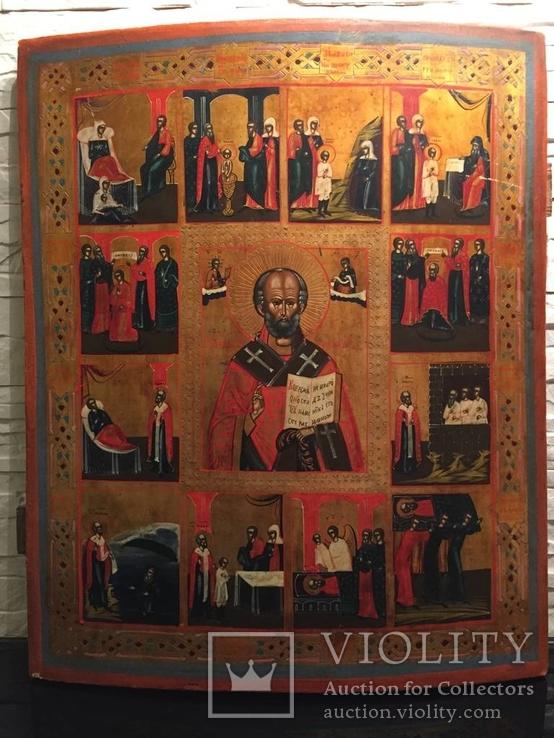 Икона Святого Николая Чудотворца со сценами жития