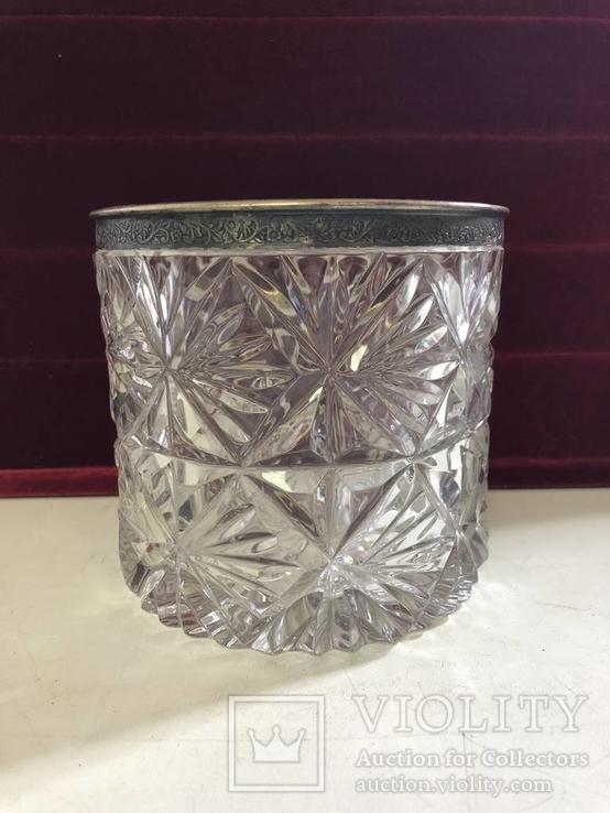 Конфетница хрусталь с серебром