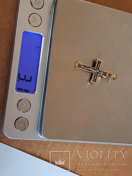 Крестик серебро 925 проба. Позолота., фото №11