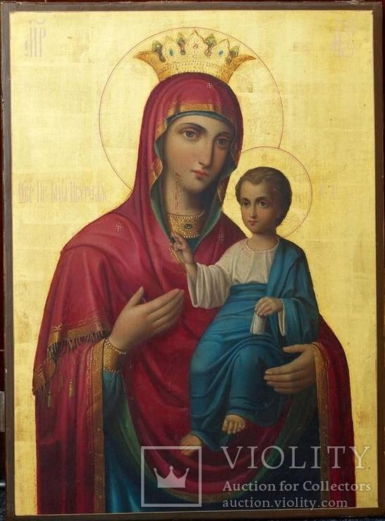 Икона Иверской Божией Матери на золоте, русский Афон