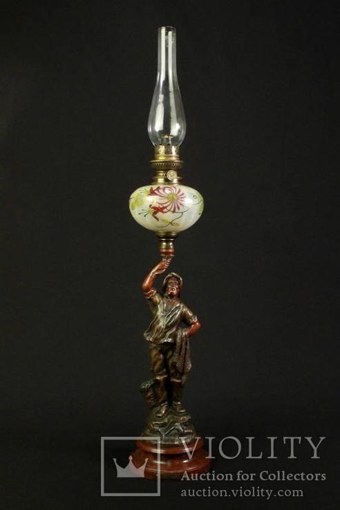 Оригинальная старая керосиновая лампа Unis France. Моряк. 730 мм. Франция. (0815)