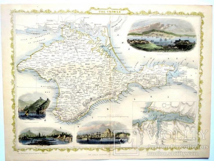 Карта Крыма XIX века - 1856 год