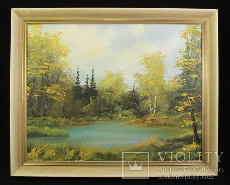 Лесной пейзаж. Холст. Масло. Подпись автора. Европа. (0814)