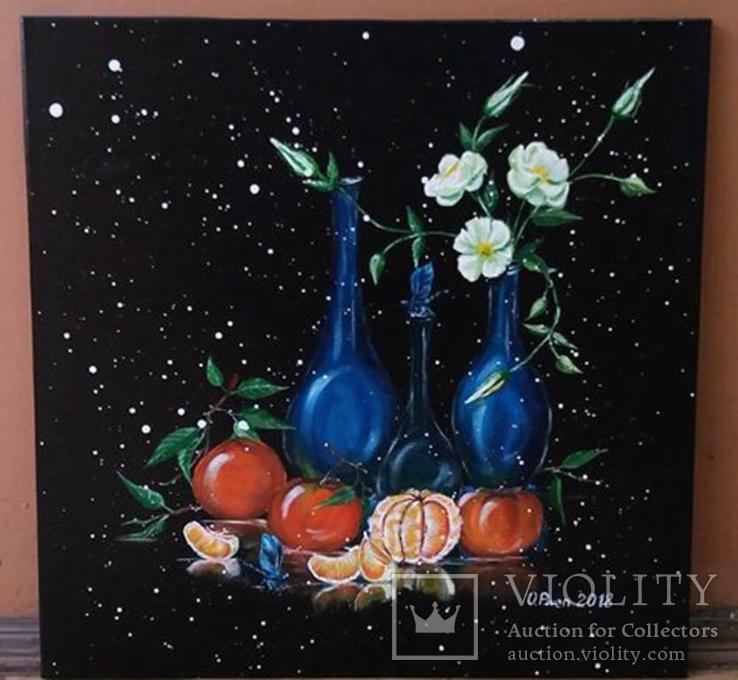 Натюрморт із синіми пляшками