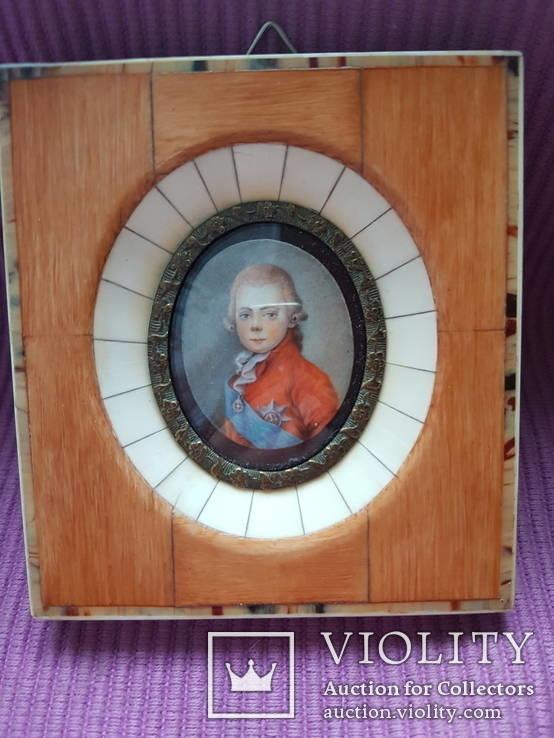 Миниатюрный портрет императора Павла в детстве с подписью автора Benner