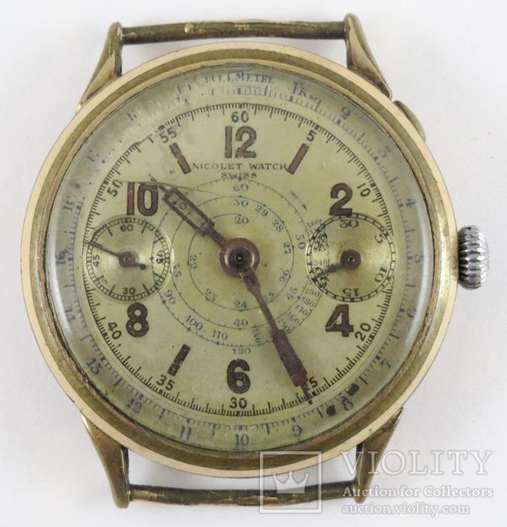 Хронограф Nicolet Watch Swiss. Корпус позолота