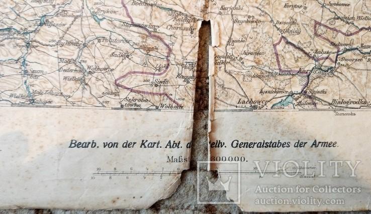 1915 г Карта Немецкого генштаба на польском языке,115х105см, фото №6