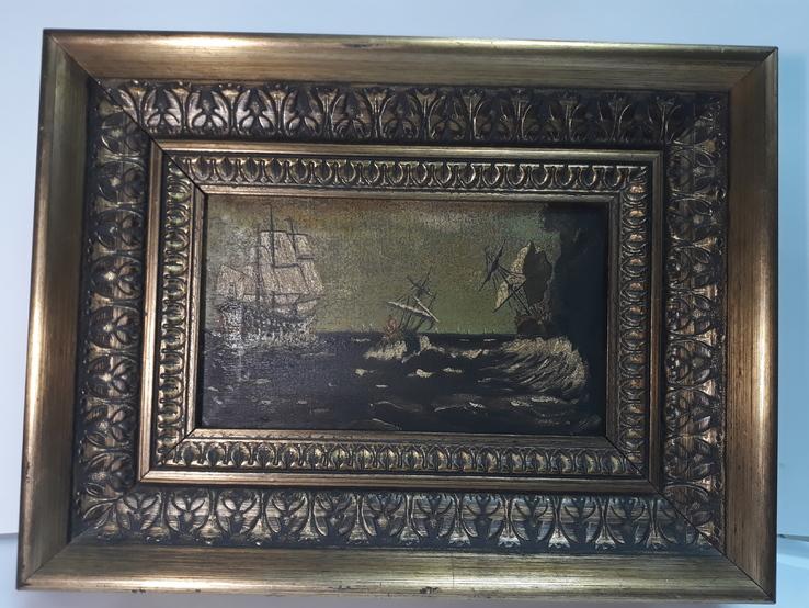 Старая Картина на морской мотив ( Холст, масло )