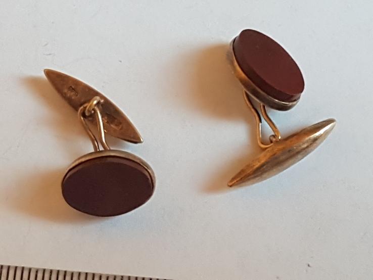 Советские запонки. Серебро 875 проба. Камни. Позолота., фото №5
