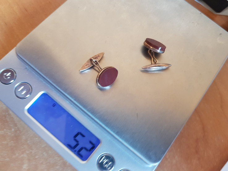 Советские запонки. Серебро 875 проба. Камни. Позолота., фото №9