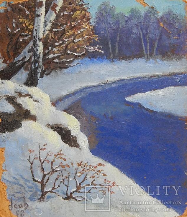 832. Подписная 1998, зимний пейзаж, картон, масло. 23х20,7 см.