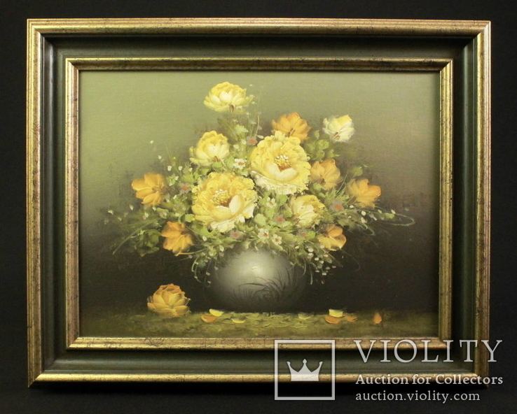 Цветочный натюрморт. Масло. Холст. Anton Domberg (1882-1954). Европа. (0845)