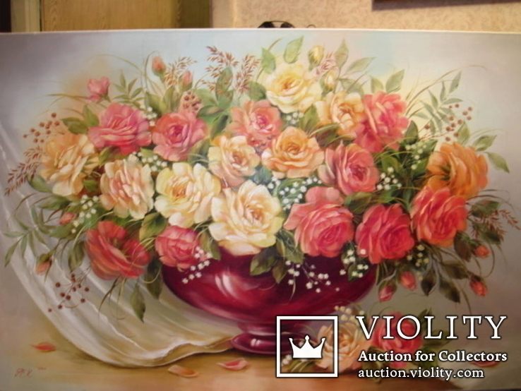 Симпатичные розы в вазе. 60х90 см