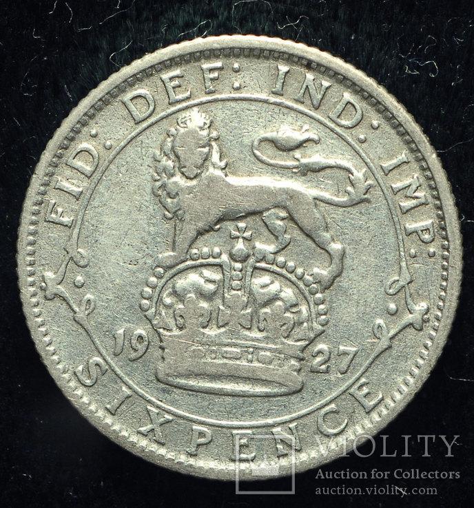 Великобритания 6 пенсов 1927 серебро