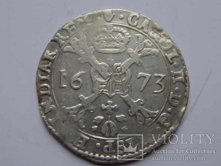 Талер Патагон 1673 год Карл Второй